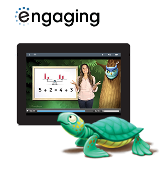 The new Common Core math program enVisionmath2.0 is engaging. Illustration of student avatar watching a video and playing a math game on a smartphone.