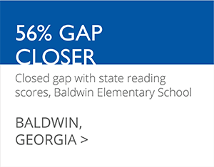 56% GAP CLOSER Closed gap with state reading scores, Baldwin Elementary School BALDWIN, GEORGIA