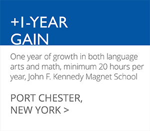 +1-YEAR GAIN One year of growth in both language arts and math, minimum 20 hours per year, John F. Kennedy Magnet School PORT CHESTER, NEW YORK