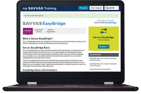 Savvas EasyBridge screen on laptop