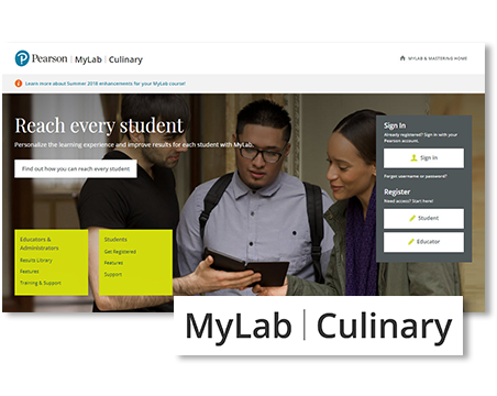 image showing the MyLab® Culinary web interface