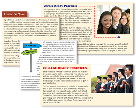 Activities enable students to practice career and job search skills in a real-world context