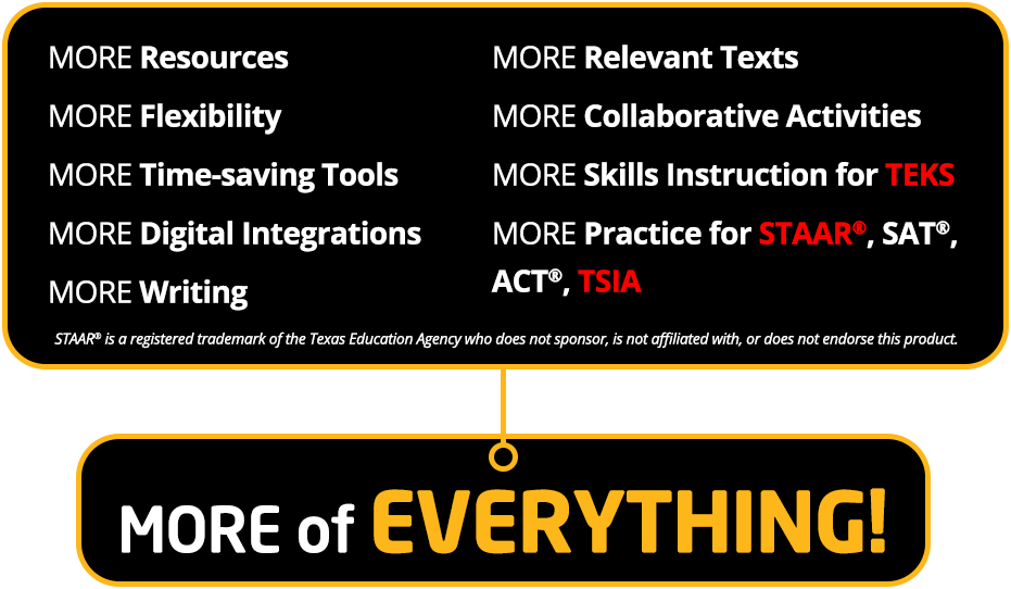 MORE Resources MORE Flexibility MORE Time-saving Tools MORE Digital Integrations MORE Writing MORE Relevant Texts MORE Collaborative Activities MORE Skills Instruction for TEKS MORE Practice for STAAR®, SAT®, ACT®, TSIA MORE Relevant Texts STAAR® is a registered trademark of the Texas Education Agency who does not sponsor, is not affiliated with, or does not endorse this product.